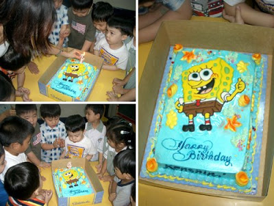 Kenshin's 4th birthday party with a Goldilocks Spongebob cake