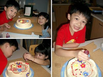 Kenshin and Keirra with Goldilocks' DIY cake