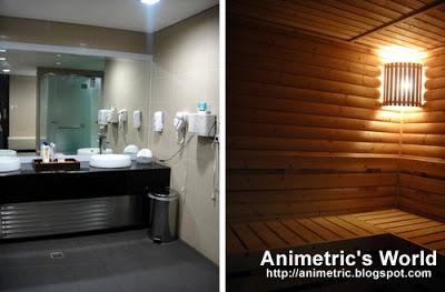 Inside Blue Water Day Spa's locker room and sauna