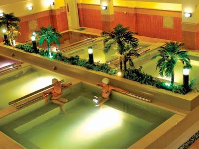 Hot herbal pools at Ace Water Spa