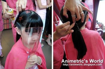 Kiddie hair salon at Red Ribbon Barbie Birthday Bash