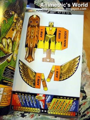 Kuwago parts in Foldabots Toy Book 3